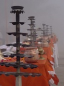 A misty morning for Arti on the ghats at Varanasi